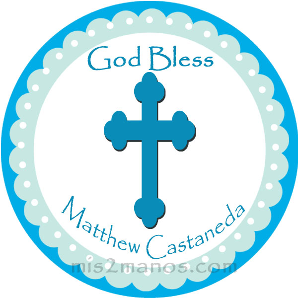 Baptism Stickers Personalized Labels 2 inch Round Favor tag For Baptism Blue Christening Stickers Set of 20