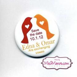 Save the Date Magnets or pinback button badge SET of 10 Personalized Wedding Magnets