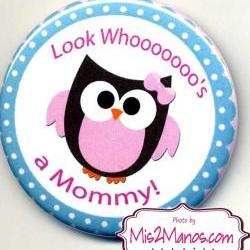 Baby Owl Buttons Personalized Buttons Custom Buttons Baby Shower