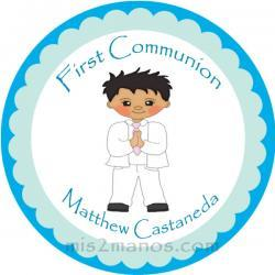 First Communion Stickers Personalized Labels 2 inch Round Favor tag For First Communion Stickers Set of 40
