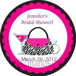 Bridal Shower Spa Party Stickers 2 inch Round Thank You Sticker Labels Party Favor Stickers SET of 40