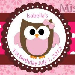 Water Bottle Label - Owl Theme Pink Baby Owl SET of 20 Custom Order